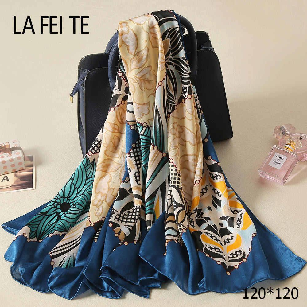 Señoras de lujo bufanda de seda Twill Satin Foulard Femme Bandana cabeza  gasa del Mantón del 6585a4b13bf