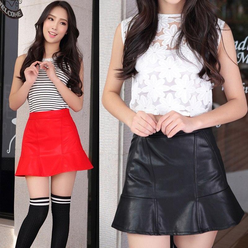 Nuevo 2018 de Corea moda negro rojo pu cuero falda mujeres vintage alta  cintura plisada Falda corta Faldas S M lxl 2XL en Faldas de La ropa de las  mujeres ... 1afa9e44a557