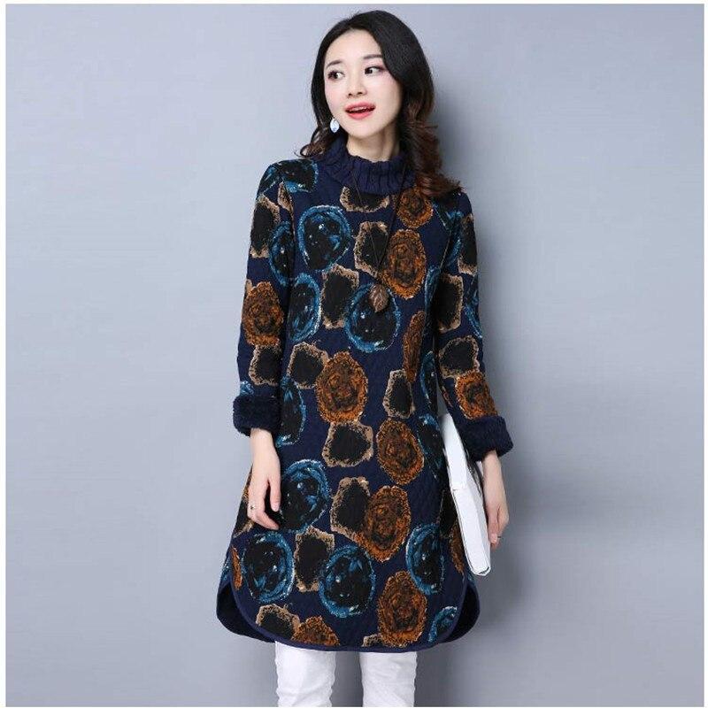 4e34e833a24 ilstile 2018 Women Floral Print Turtleneck Long Sleeve Casual Velvet Midi  Dress Winter Warm Basic Dress Vintage Kaftan M-XXL New