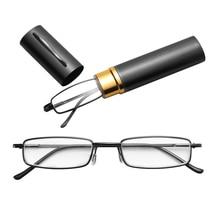 Лидер продаж унисекс Нержавеющая сталь рамка смолы очки для чтения 1,00-4,00 с трубкой чехол складной против усталости глаз, пресбиопические очки