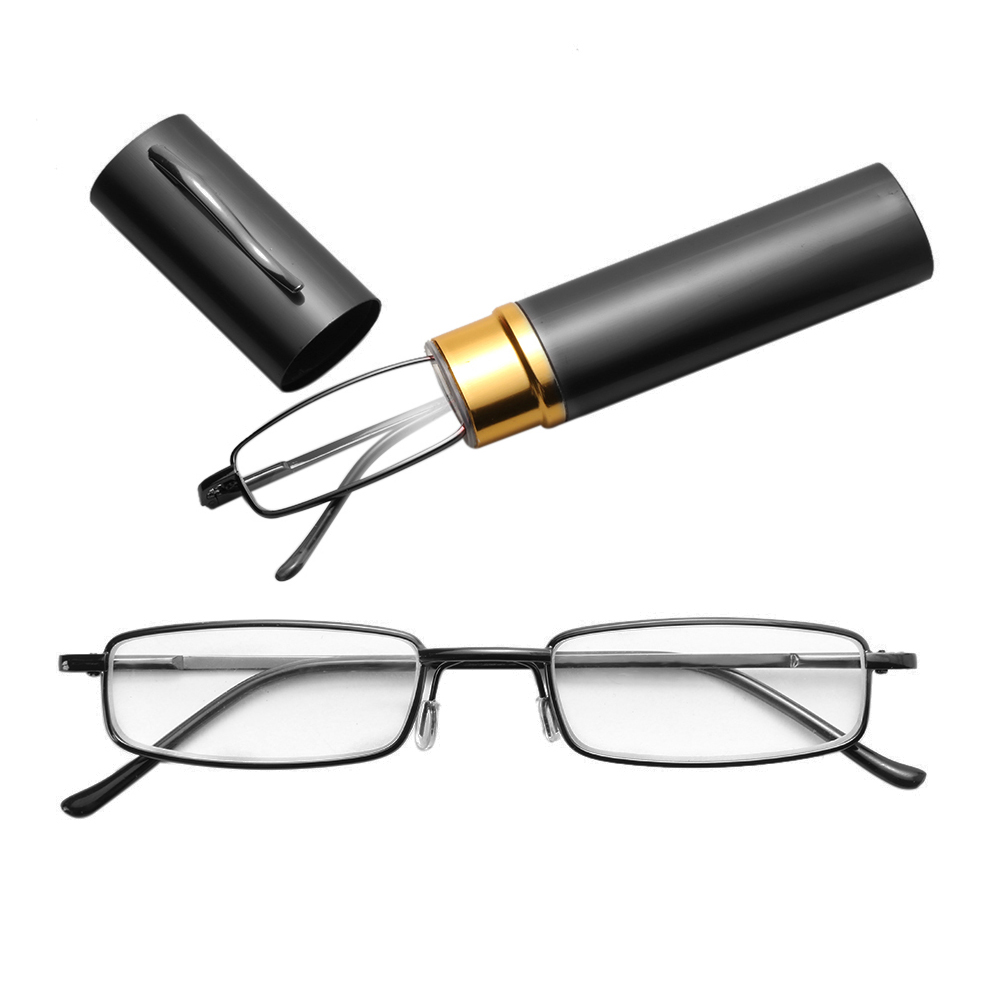Hot Sale Unisex Stainless Steel Frame Resin Reading Glasses 1.00-4.00 With Tube Case Folding Anti Fatigue Presbyopic Eyeglasses