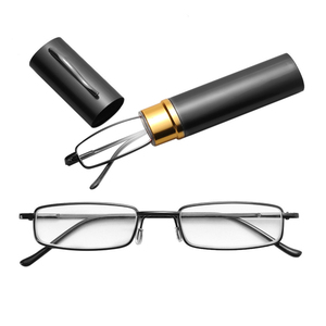 Hot Sale Unisex Stainless Steel Frame Resin Reading Glasses 1.00-4.00 With Tube Case Folding Anti Fatigue Presbyopic Eyeglasses(China)