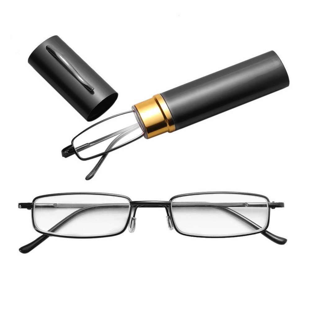Unisex Occhiali Da Lettura con la Penna Caso Tubo Portatile di Occhiali Da Presbite Caso della Pagina Cerniera A Molla Occhiali Da Vista Occhiali + 1.00 ~ + 4.00