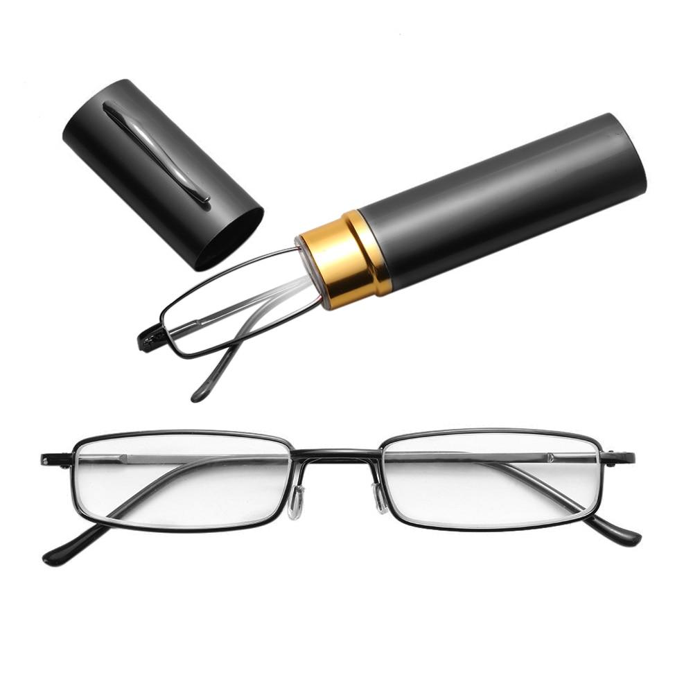 Unisex Reading Glasses With Pen Tube Case Portable Presbyopic Glasses Frame Case Spring Hinge Eyeglasses Glasses +1.00~+4.00