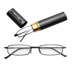 Unisex Reading Glasses with Pen Tube Case Portable Presbyopic Glasses Frame Case Spring Hinge Eyeglasses Glasses +1.00~+4.00(China)