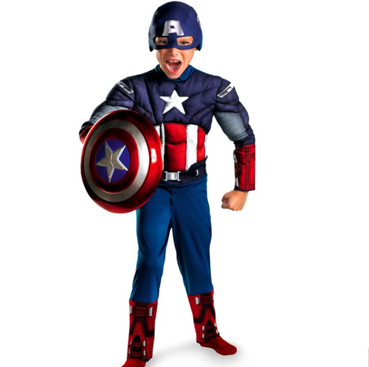 CaGiPlay Bambini Avengers Capitan America Muscle Costume disfraces halloween supereroe ragazzi regalo di compleanno cosplay fancy dress