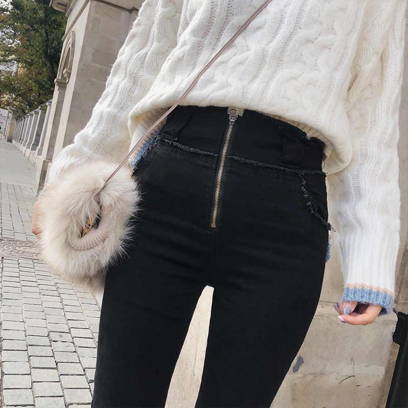 2019 MISHOW الخريف الشتاء شيك نمط المرأة مرونة سروال شكل قلم رصاص عالية الخصر نحيل أسود الجينز MX18D2550