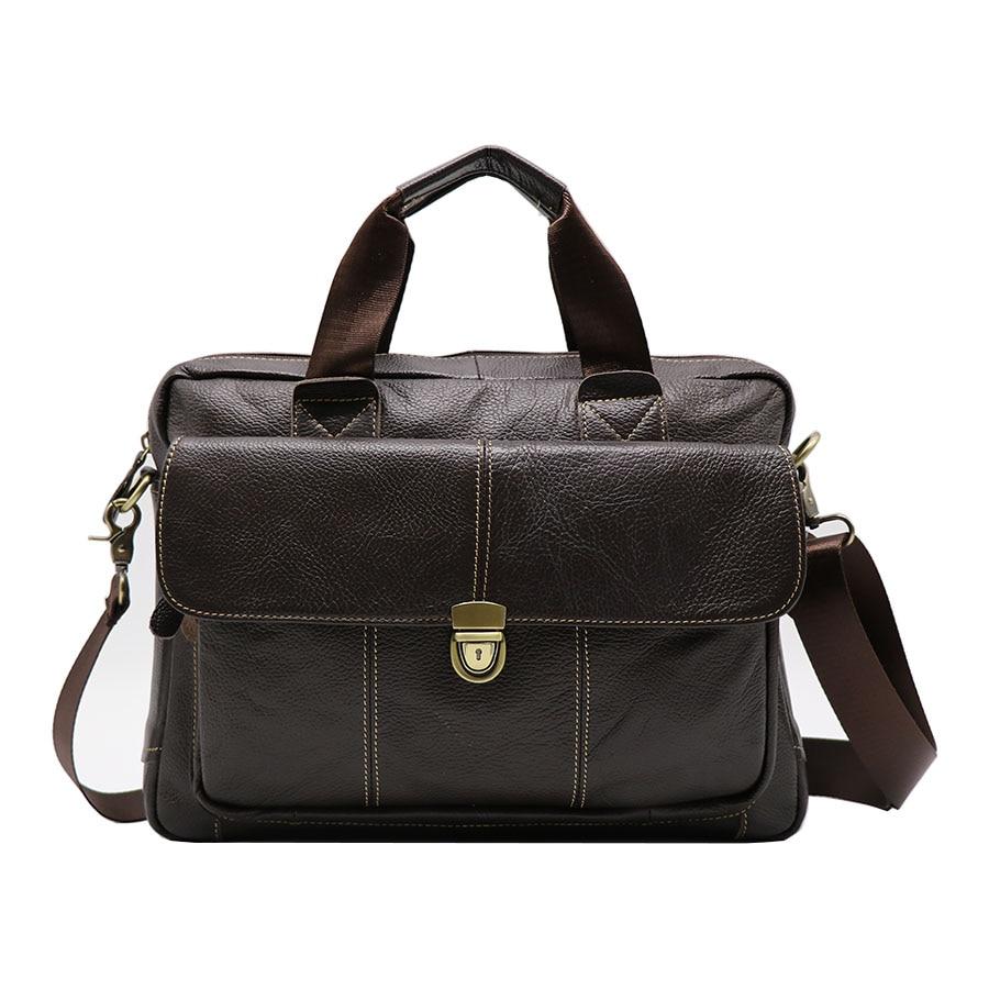 Genuine Leather Business Top handle Briefcase Handbag Men s Crossbody Shoulder Bag Men Messenger Bags 15