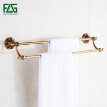 FLG Towel Bars Double Rails Brass Wall Shelves Towel Holder Bath Shelf Towel Hanger Bathroom Accessories Antique Towel Rack G130 xogolo rose gold creamic mosaic bath towel hanger fashion luxury double layer towel rack for bathroom accessories high quality