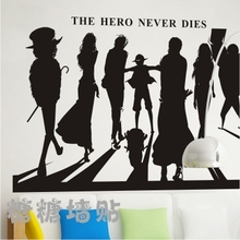Hot Japanese Cartoon Vinyl Wall Decal  Anime One Piece Whole Family Mural Wall Sticker The Hero Never Dies Bedroom Decoration