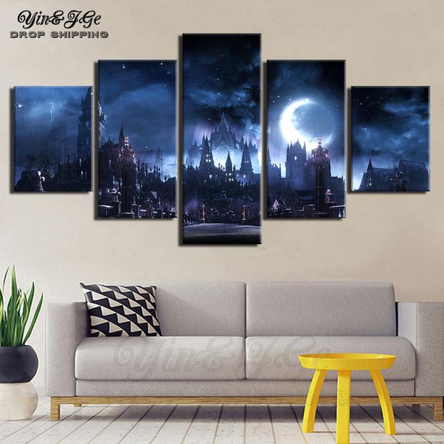 Hd Prints Game Landscape Poster 5 Pieces Canvas Art Dark Souls Pop Painting Home Living Room Modular Picture Framework