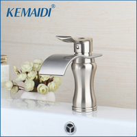 KEMAIDI Basin Sink Faucet Waterfall Bathroom Mixer Nickel Brushed Bathroom Sink Mixer Taps Deck Mounted Single Hand