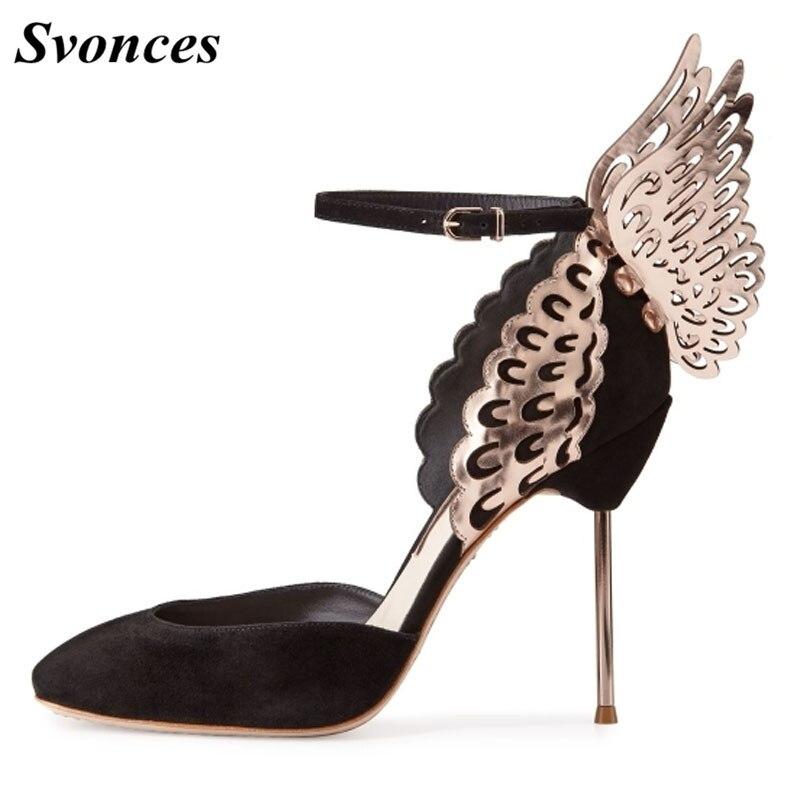 Ayakk.'ten Kadın Pompaları'de Svonces Moda Ayak Bileği Kayışı Kelebek Altın Pompalar Kanat Siyah Düğün Ayakkabı Kadın Kadife El Yapımı Lüks Tasarım Bayanlar Ayakkabı Parti'da  Grup 1