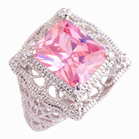 lingmei Wholesale Sweet Emerald Cut Pink Sapphire 925 Silver Ring Size 6 7 8 9 10 11 Fashion Women European Jewelry Free Ship
