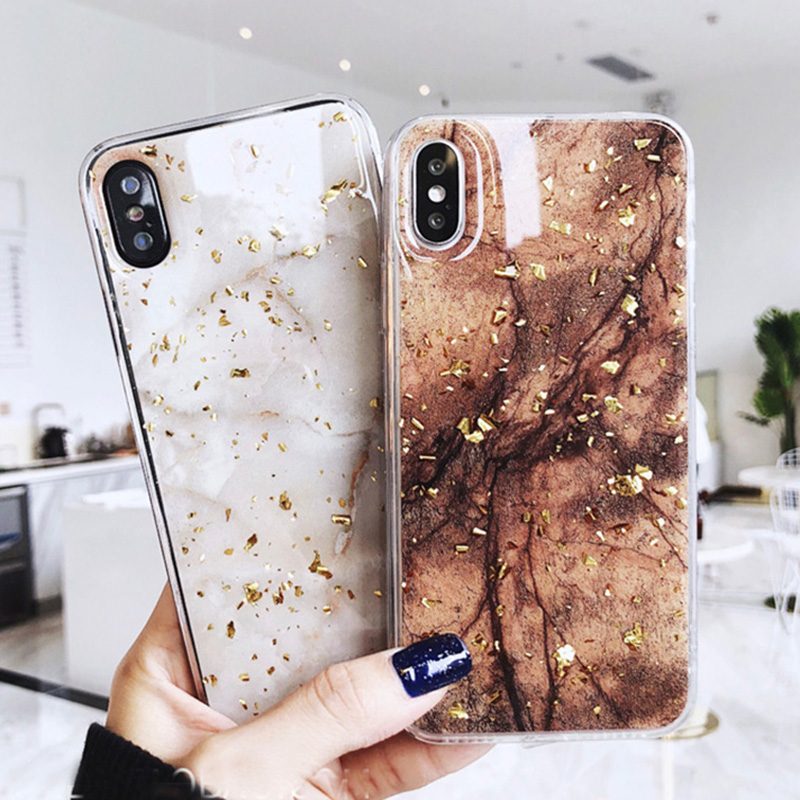 Luxury Gold Foil Bling Marble Phone Cases For iPhone X 10 Cover Soft TPU For iPhone XR XS MAX 7 8 6 6s Plus Glitter Case Coque plum tree girl 3d painted pu phone case for iphone 6s 6