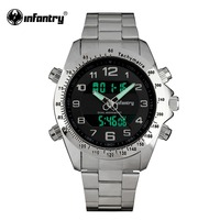 INFANTRY Mens Watches LCD Digital Quartz Aviator Watches Airforce Silver Full Steel Watches For Men Hot
