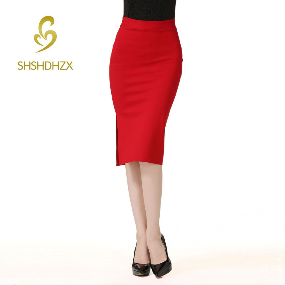 High Elastic Nylon Cotton Slim Women's New High Waist Side Split Package Hip Skirts Size S-5XL