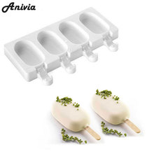 Anivia 4 Cell Silicone Frozen Ice Cream Pop Popsicle Mold Ice Maker Lolly Mould Tray Pan Kitchen + 40 Wooden Sticks