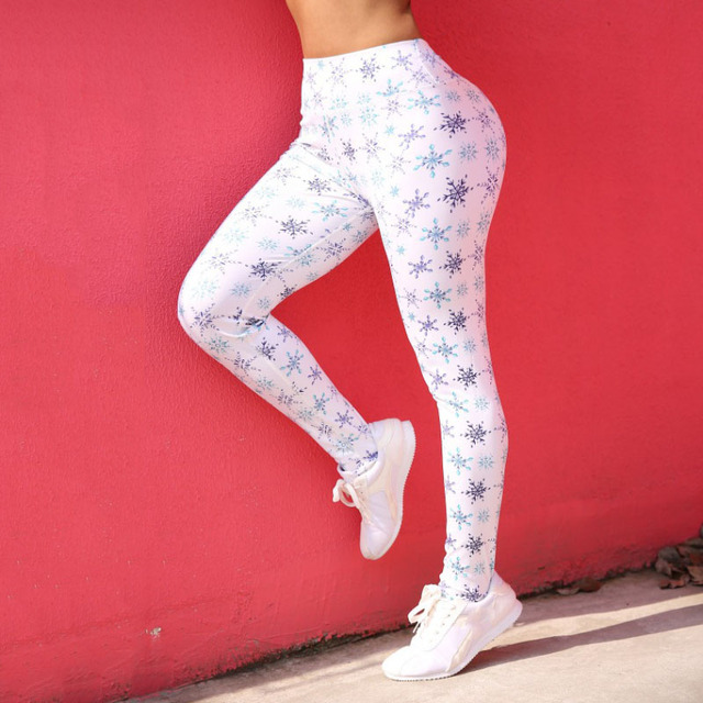 New Fashion Snow Pattern Printing Leggings Women High Waist Push Up Pants Female Sexy Workout Fitness Pants Slim Women Leggings 3