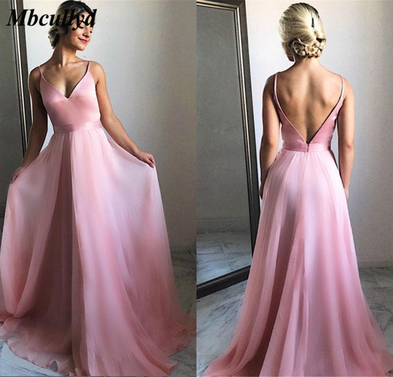 Graceful V-neck Long   Bridesmaid     Dresses   2019 Sexy Backless Prom   Dress   Party For Women Cheap Custom Made Vestidos de fiesta