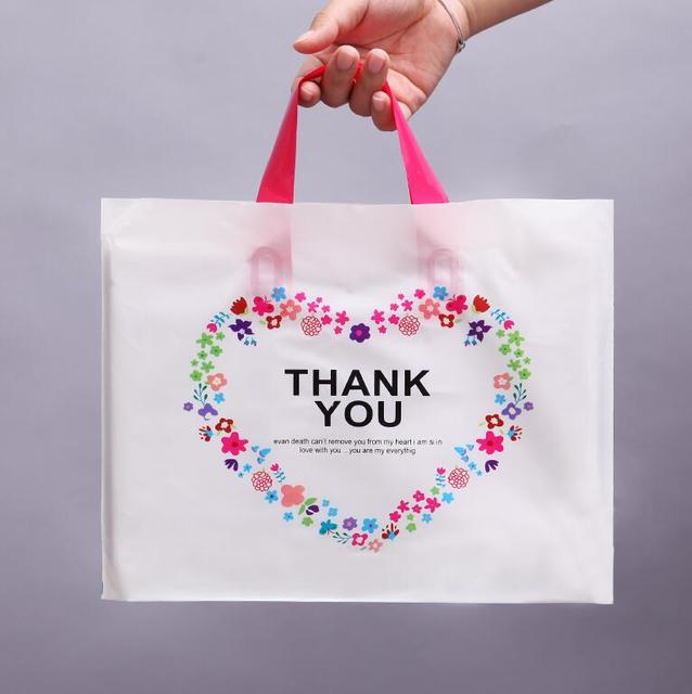 50pcs 28 33cm Thank You Plastic Handle Ping Bag For Gifts Pink
