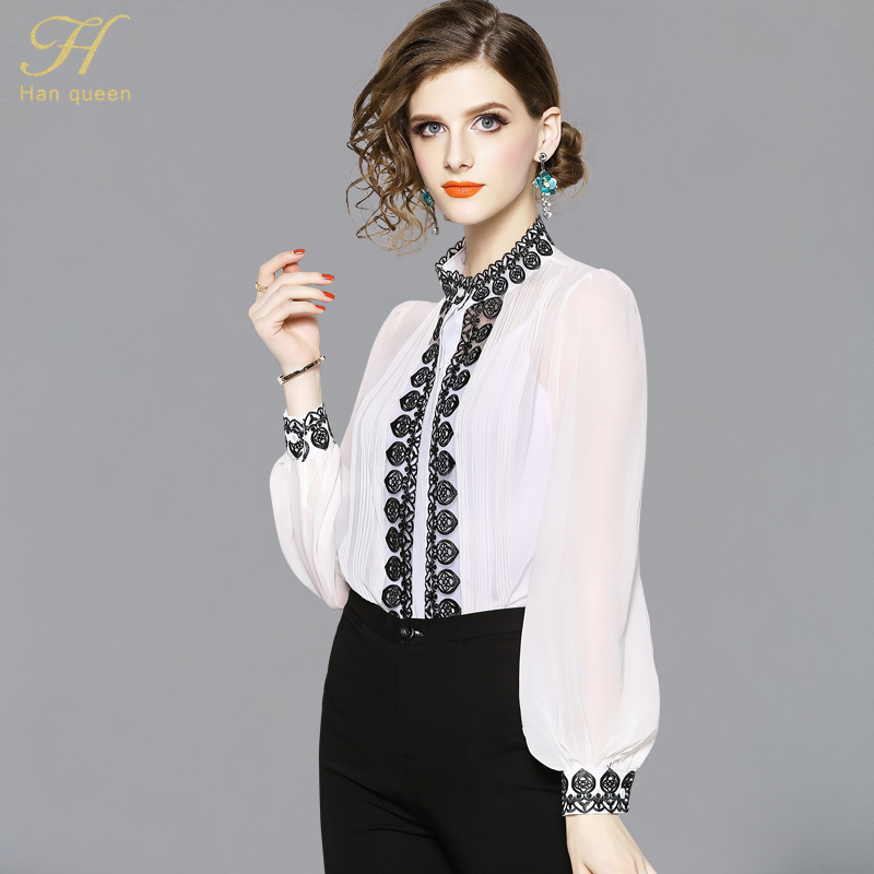 H Han Queen Women Chiffon Blouses Loose Embroidered Shirt Tops Work Casual Vintage Blouse Plus Size Lantern Sleeve Blusa