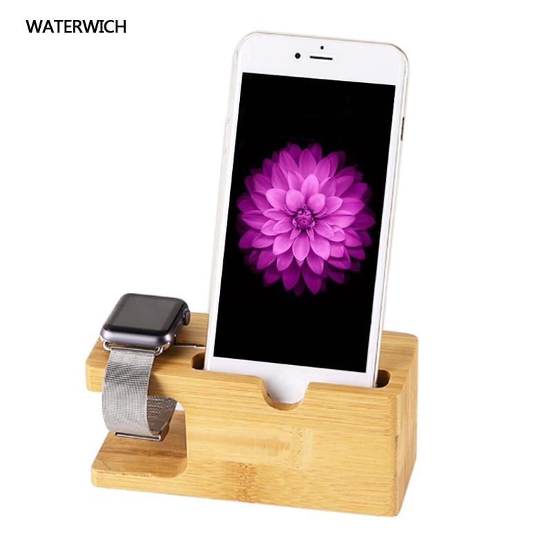 100% Natural De Bambu Suporte de Carregamento Dock Station Cradle Suporte Do Telefone titular Para Apple iPhone 6 S 7 Plus Plus Para i relógio