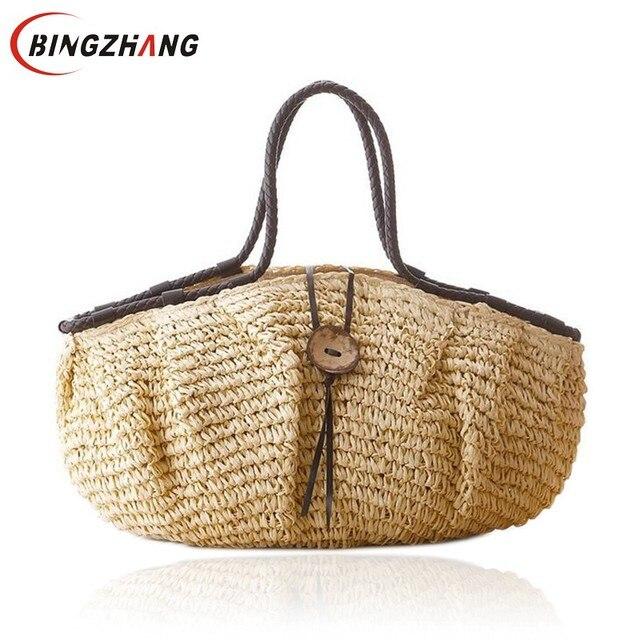 d913a24ba Travesseiro de Palha Saco de Praia Bolsa De Verão Mulheres Causal Saco de  Viagem Grande capacidade