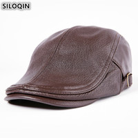 SILOQIN Genuine Leather Men's Autumn Winter Hats Sheepskin Warm Berets For Men Adjustable Size Brands Male Bone Flat Cap Dad Hat