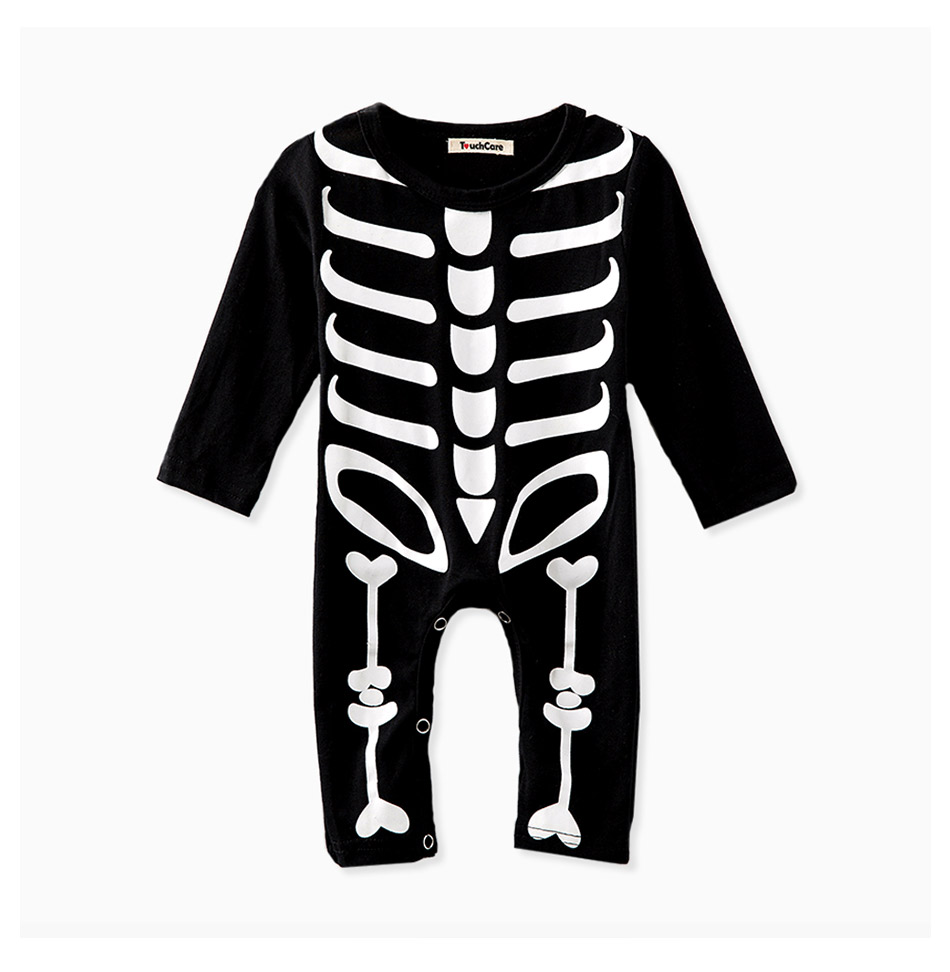 Touchcare Newborn Baby Boy Girl Rompers Skeleton Print Black Color Baby Clothes Long Sleeve Infant Jumpsuit Baby Sliders Romper 17