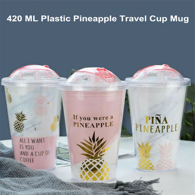 New 420ML Travel Cup Mug Double Plastic Pineapple Design Coffee Waterbottle Gift Slide Double Plastic Straw Pineapple Cup