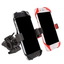 Bicycle Bag Mobile Phone Holder Support Motorcycle Handlebar Mount dsrn  (with 1 Red &1 Black Silicone Cases)