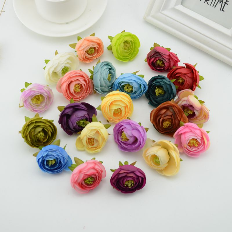 silk roses gifts scrapbooking craft Fake flower Camellia DIY Wreath Wedding Artificial Flowers cheap home decoration accessories
