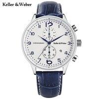 Keller Weber Fashion Brand KW Watches White Blue Quartz Wristwatch Chronograph Date Display Genuine Leather Band