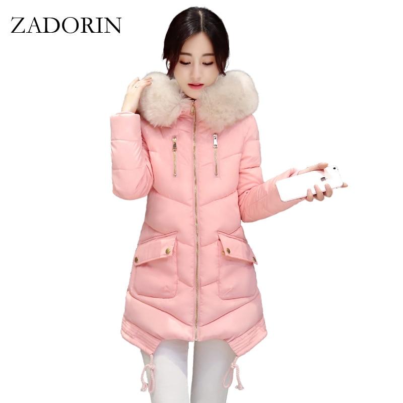 ФОТО 2016 New Fashion Winter Down Jacket Women Faux Fur Collar Hooded Thick Warm Coat For Women Overcoat Parka Coats doudoune femme