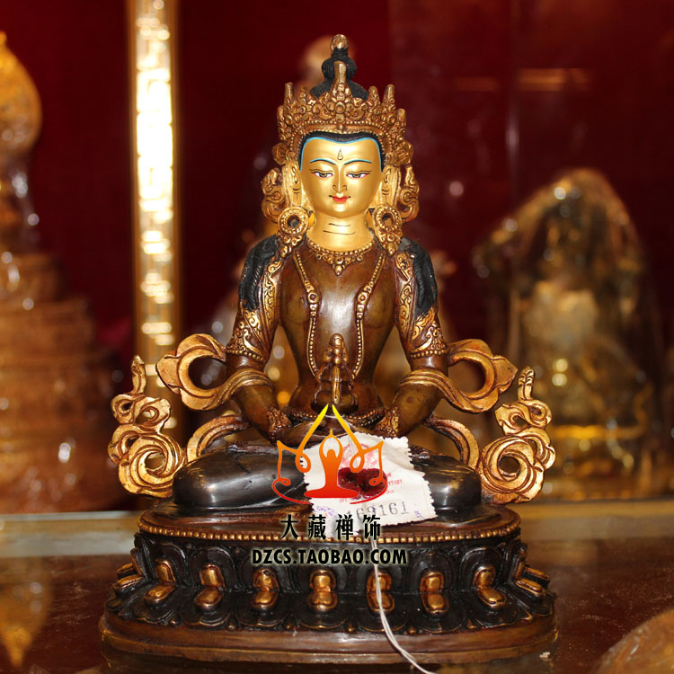 Буддийские поставок Аутентичные бронзовый и Золото Чистая медь Тантрический Будда Непала Амитаюс 7