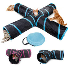 Dropshipping Pet Cat Tunnel Toys for Cat Kitten 4 Holes Collapsible Crinkle Cat Playing Tunnel Toy(China)