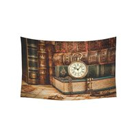 Vintage Antique Style Home Decor Wall Art Retro Pocket Watch Old Book Tapestry Wall Hanging Art