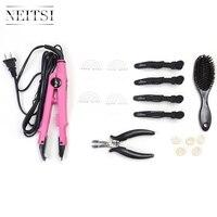 Neitsi Extensions de Cheveux Connecteur Contrôle de La Température et Cheveux Fer Outils (Jetée, brosse, U Conseils, chaleur Bouclier Protecteur, cheveux Clips)