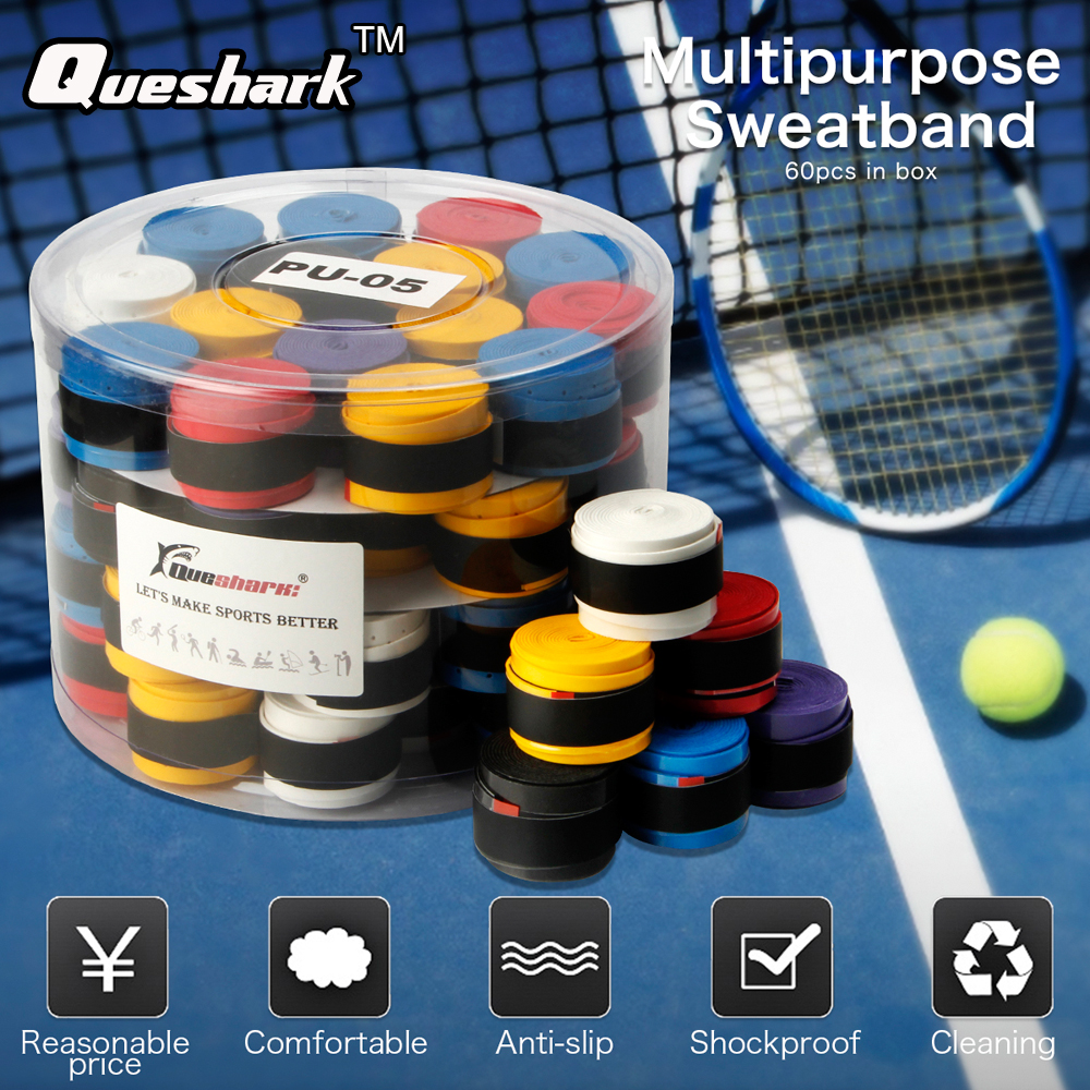 60 Pcs WHITE/BLACK Tennis Racket Grips Coated Anti-skid Sweat Absorbed Tapes Badminton Tennis Overgrips Fishing Rod Sweatbands