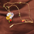 Lindo Amarillo Flor de la Margarita Blanca de La Mariposa Mariquita Colgante de Collar Para Las Mujeres Collar de la Joyería de Esmalte de Alta Calidad