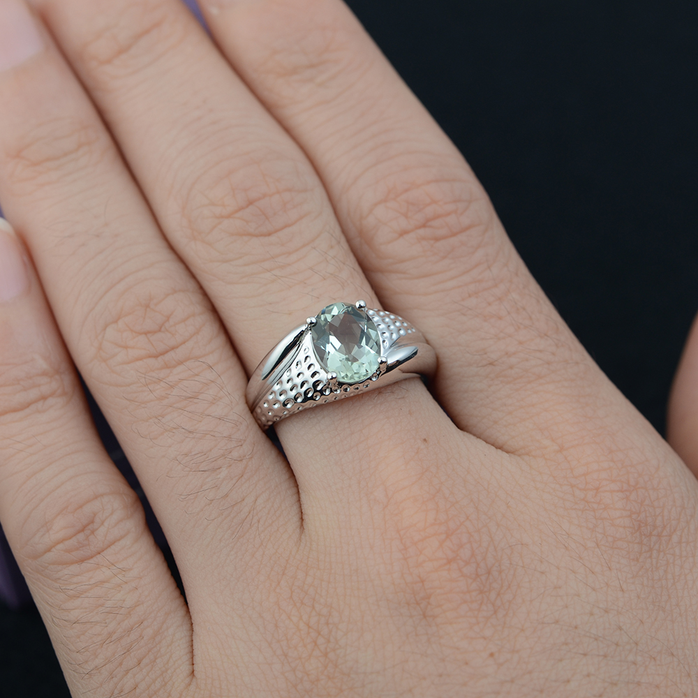Leige Jewelry Natural Green Amethyst Ring Solitaire Oval Cut - Edlen Schmuck - Foto 2