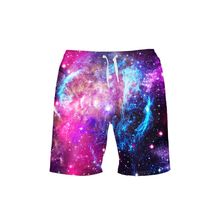VEEVAN Men Board Shorts Galaxy Starry Sky Leopard 3D Printing Beach Shorts Quick-dry