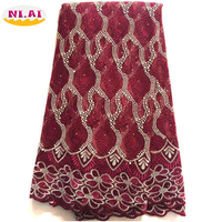 Best Selling African Cord Lace Wine High Quality French Lace Fabric 2017 African Mesh Lace Fabric