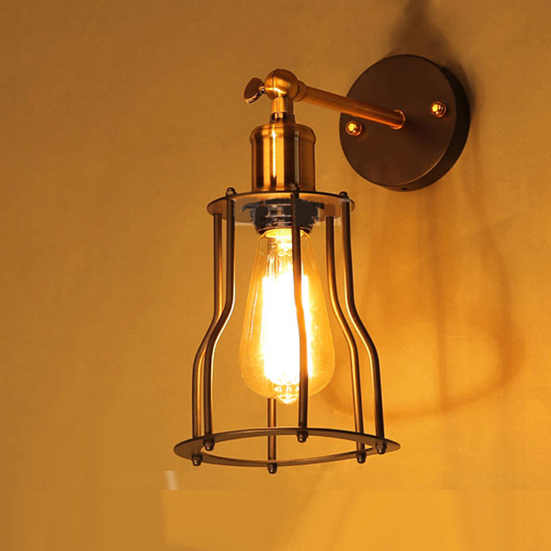 Free shipping Vintage Industrial Lighting wall Lights E27 Country Small Black Metal Lamps Edison Lighting Fixtures