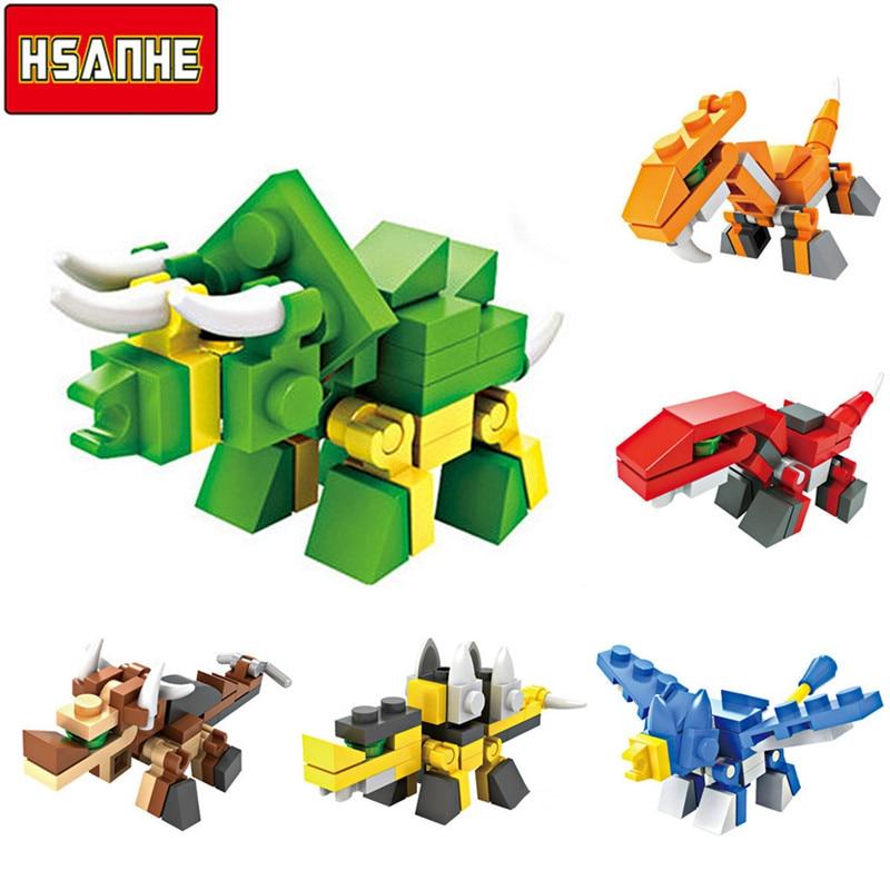 6Pcs HSANHE 6in1 3D Brick Building Blocks Animals Dinosaurs DIY Model Set Bricks Learning Educational Toys for Children 6+ Years chiaro паула 4 411011706