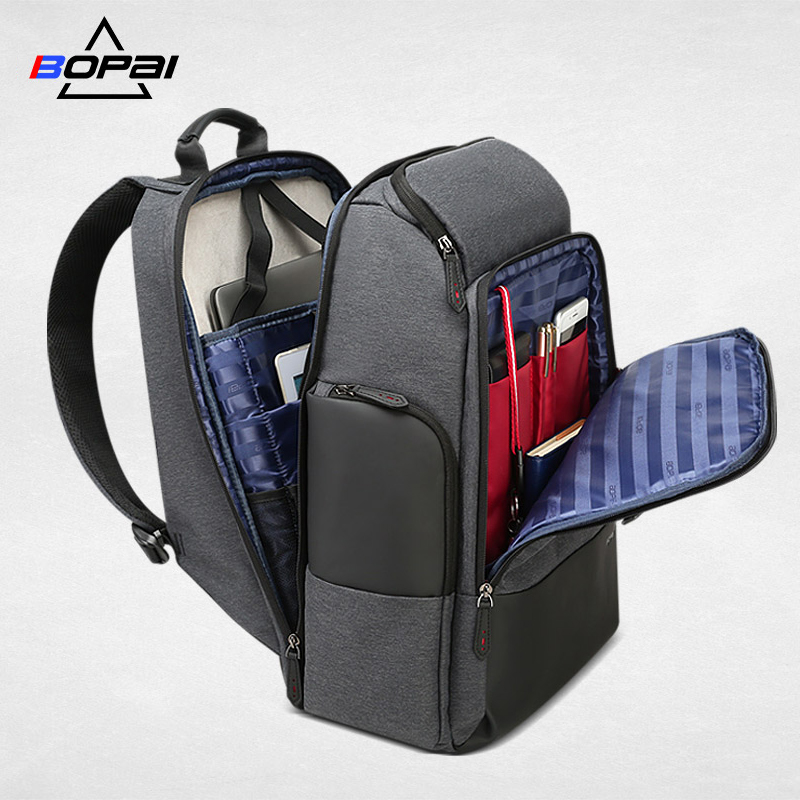 BOPAI Brand Travel Backpack Men High Capacity Multifunction USB Charging for 17inch Laptop Backpack Anti theft