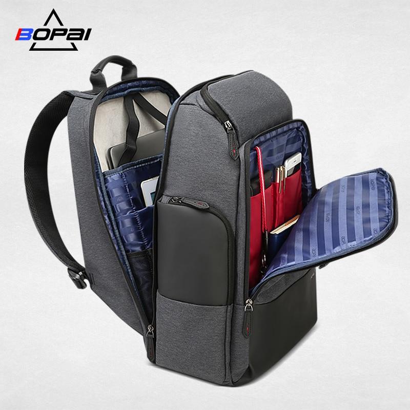 Bopai marca mochila de viagem dos homens alta capacidade multifuncional carregamento usb para 17 polegada portátil mochila anti roubo negócios