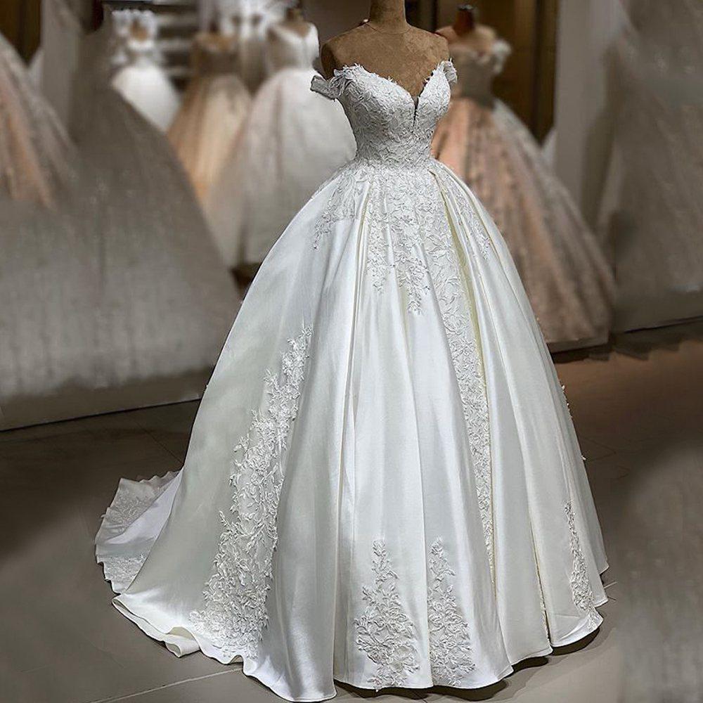 Beautiful Wedding Dresses 2019: Beautiful Arabic Wedding Dress 2019 Ball Gown V Neck Cap