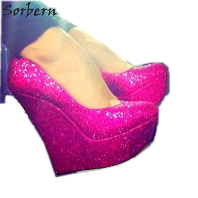 d3daa4d841c Sorbern Peach Sequins Glitter Women Pumps High Heels Platform Shoes Ladies  Slip On Fancy Heels Footwear